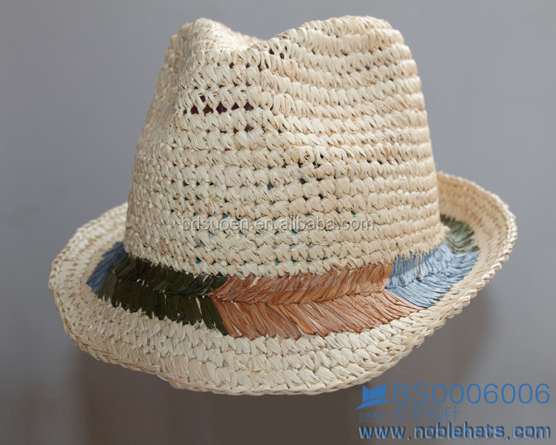Girl's fashion summer hats, raffia crochet straw fedora hats with charming triming
