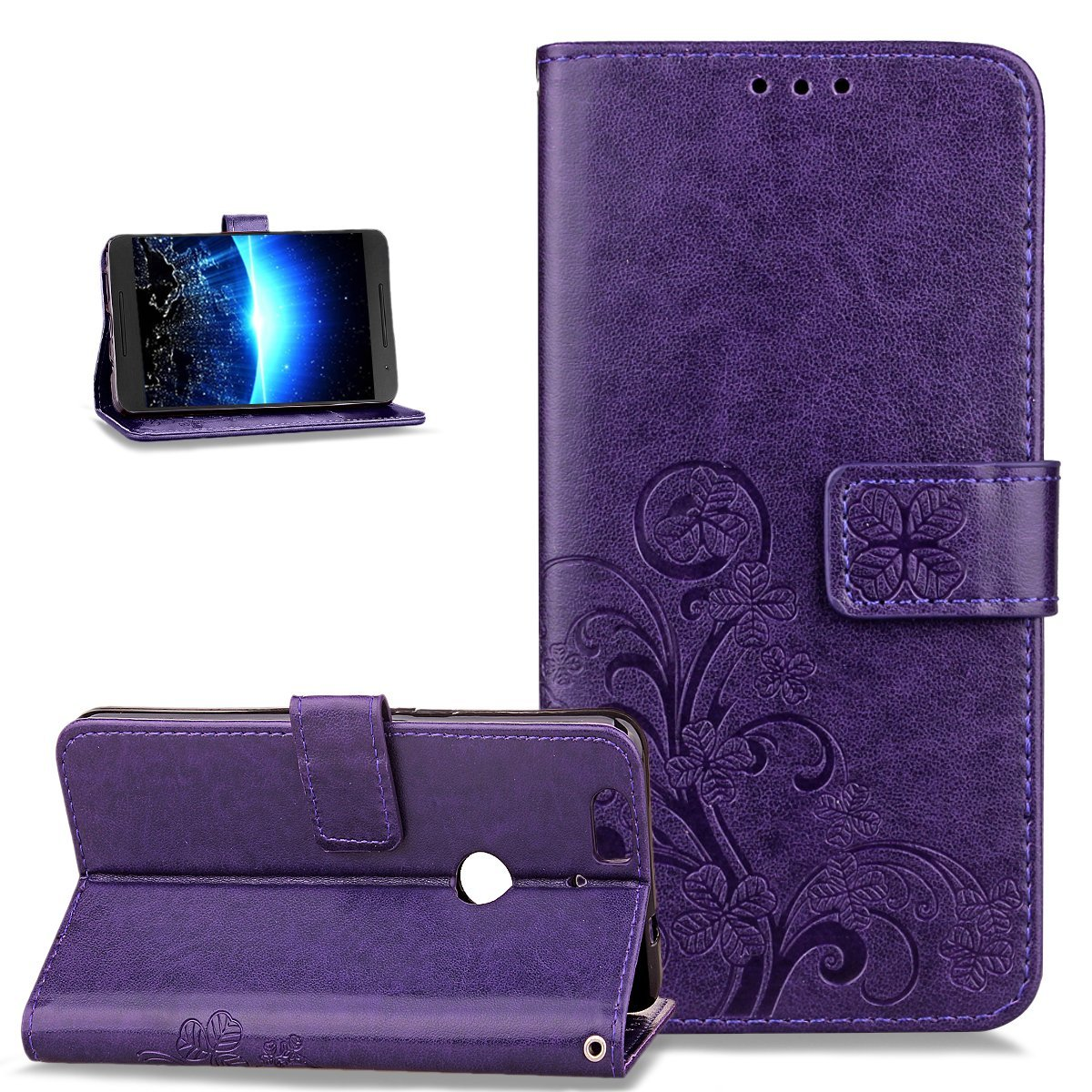 Huawei Nexus 6P Case,Wallet Case for Huawei Nexus 6P,ikasus Embossing Clover Flower Premium PU Leather Flip Wallet Pouch with Stand Credit Card Holders Case Cover for Huawei Nexus 6P,Purple