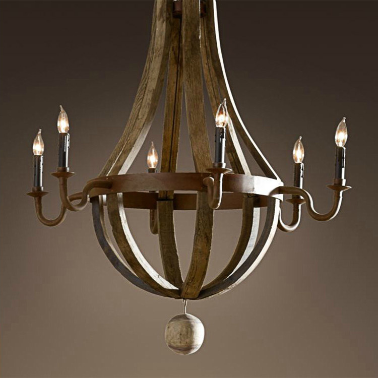 Wood Chandeliers For Dining Room: American Nostalgia Retro Handmade Wooden Chandelier Candle