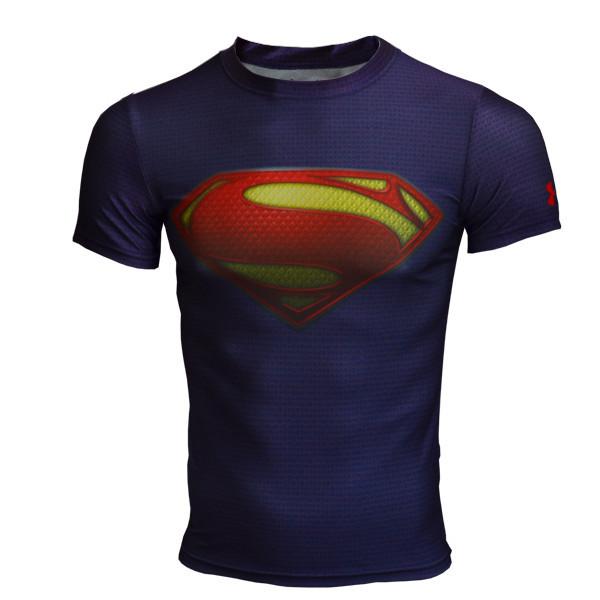 bba55cf26 Get Quotations · Men marvel superman compression armour shirt short sleeve men  fitness crossfit t shirt men sport under