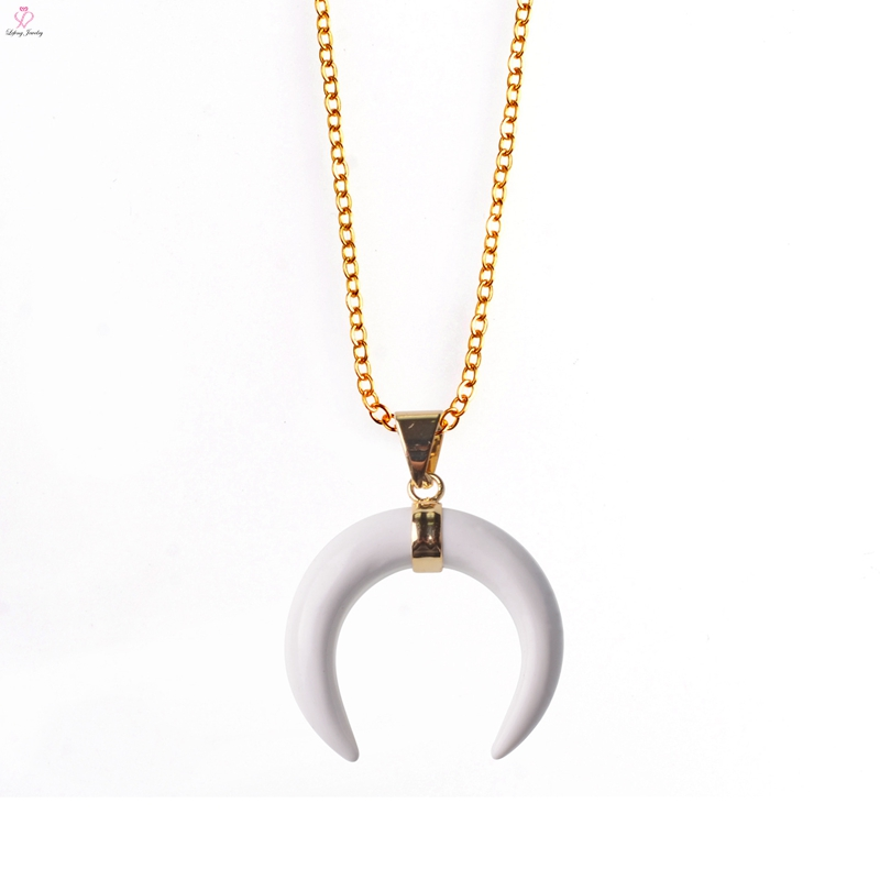 Semi Precious Stones Horn Pendant, Fashion Resin Horn Pendant Necklace