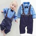 2016 fashion kids clothes grid shirt suspender newborn Long sleeve baby boy clothes Bowknot gentleman suit