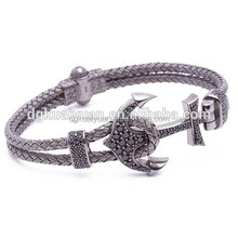 2016 Fashion Leather Bracelet CNC Diamonds Paved Mens Luxury Stainless Steel Anchor Bracelet
