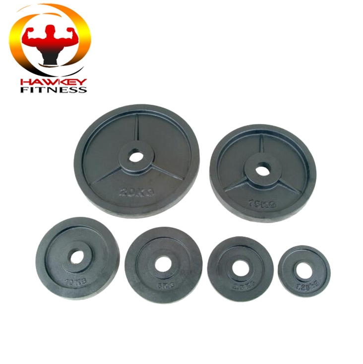 Commercial gym equipment cast iron weight plate bumper plates with machine finish