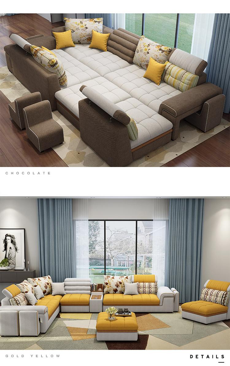 Latest Home Living Room Furniture Couch U Shaped Sofa Set