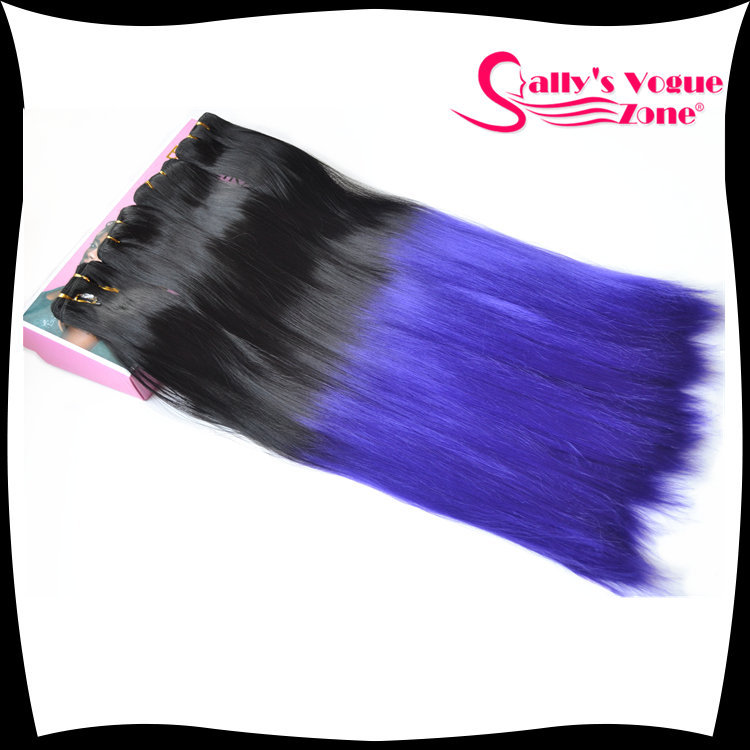 Buy Kanekalon Synthetic Hair Extension Blue Ombre Weave Straight