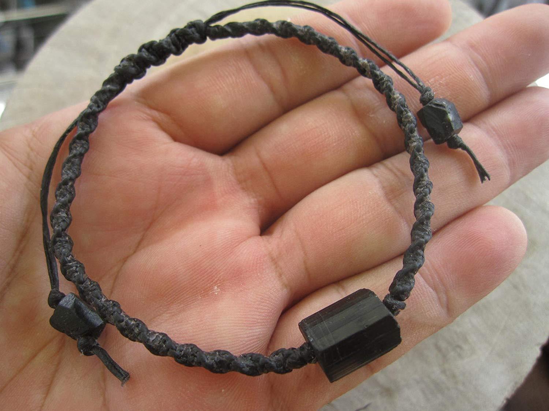 Rough Black Tourmaline Bracelet,Tourmaline Jewelry,October Birthstone,Black Tourmaline Bracelet,Macrame bracelet,Men bracelet,Mala bracelet,Raw black tourmaline - Custom size 6.5,7,7.5,8,8.5