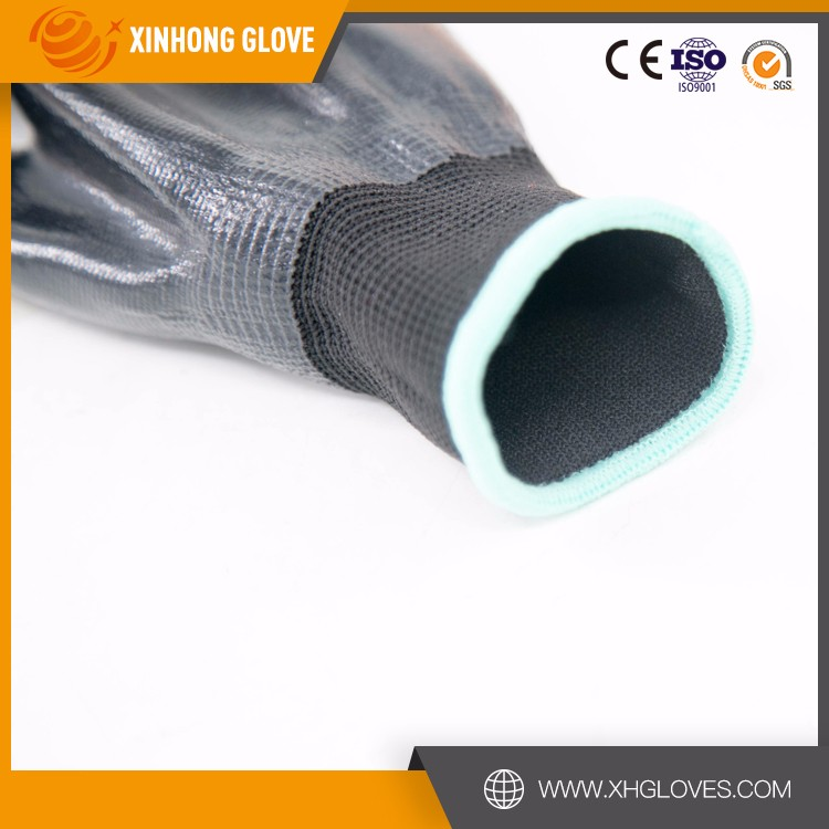 Xinhong Heavy Duty Oil Proof Nitrile Gloves With Jersey Liner