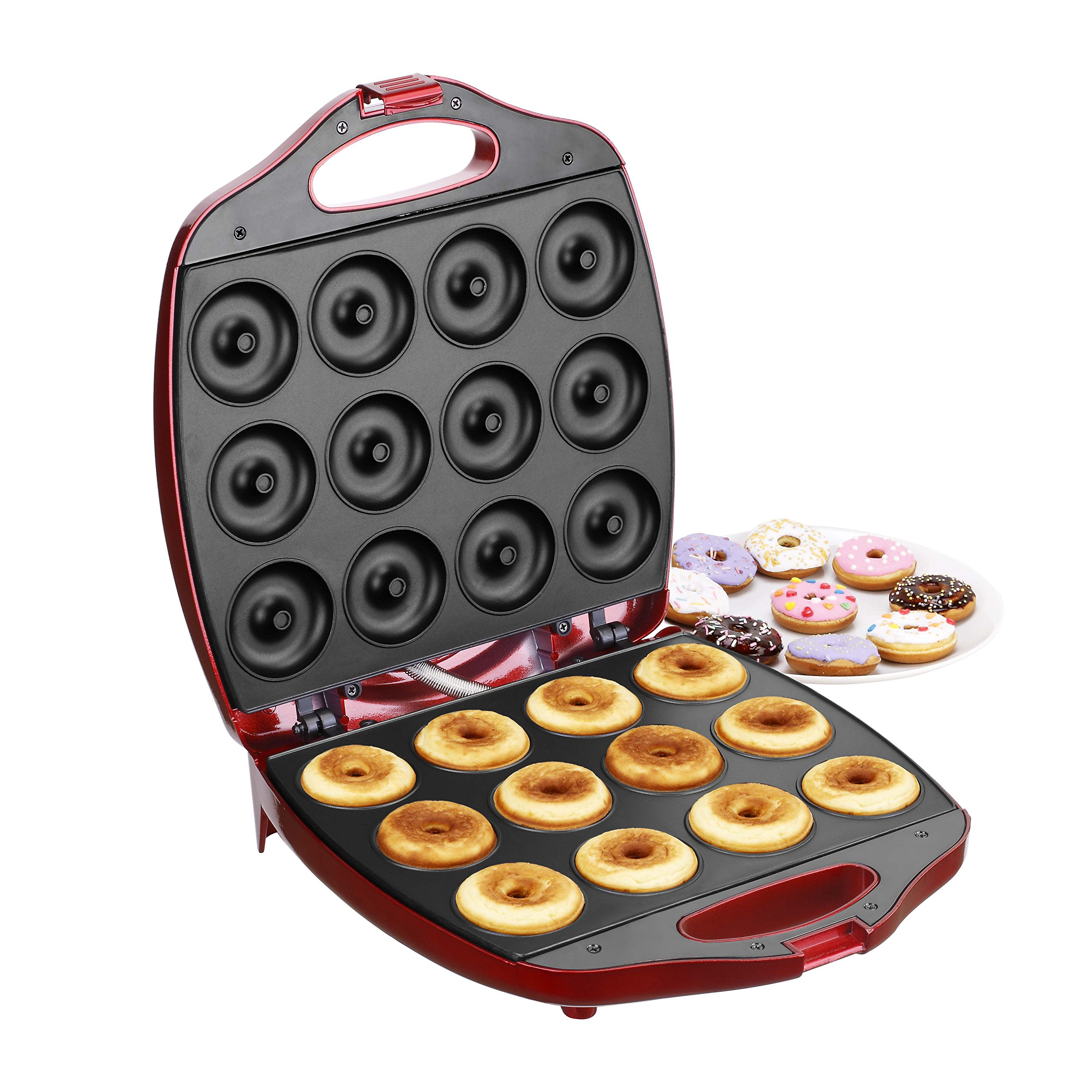 Get Quotations · VonShef 12 Mini Donut Electric Maker Kit Set, Small Donut  Snack Machine, Red