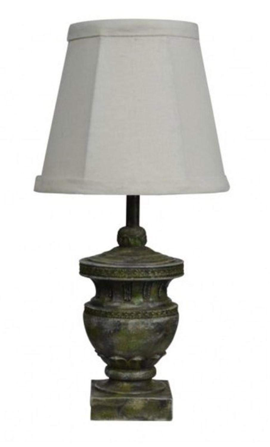 Diva At Home Set of 2 Contemporary Calais Weathered Urn Accent Lamps with Dark White Shades