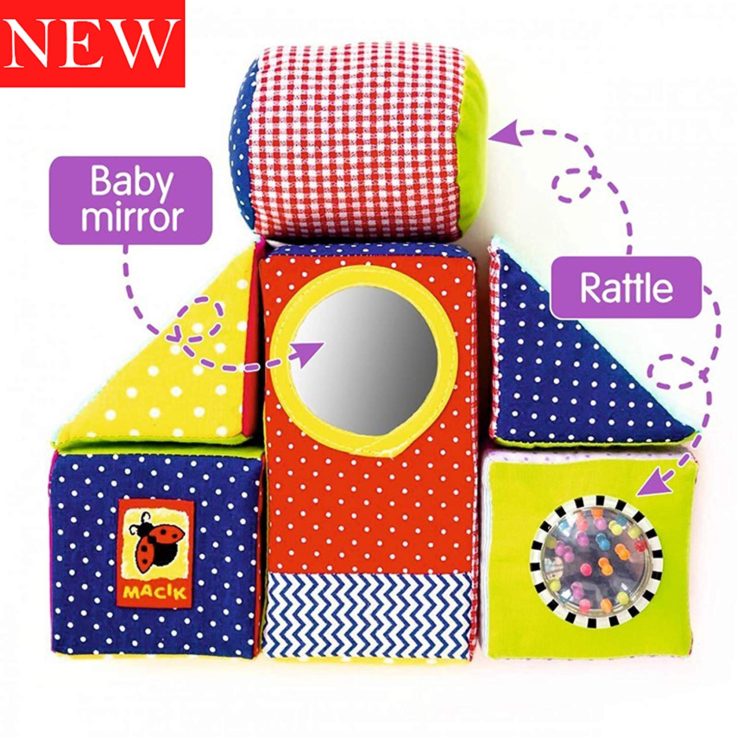 MACIK baby Soft Blocks for kids - baby Stacking toys baby Development toys - fine motor skills toys Soft Cubes - Soft infant toys 6m baby toys Rattle toy baby educational toys 12-18 months - Soft toys