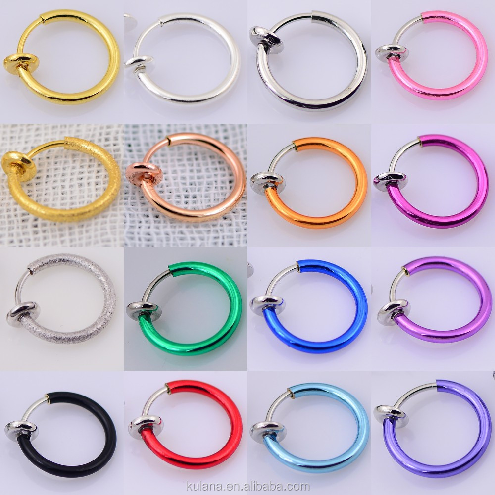 10 mm Wide Spring Nose Piercing Fake Septum Pierced Fake body jewelry factory