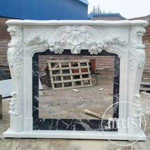 Europe Style Home Decoration Natural Marble Carved Antique Fireplace Surrounds Mantels