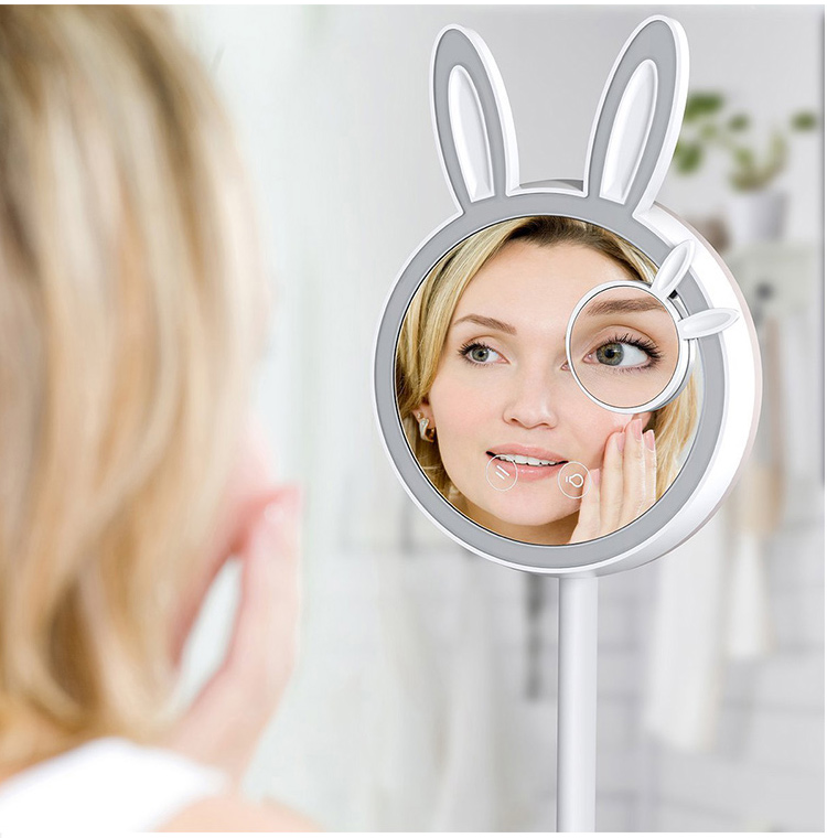 Desktop Foldable Make Up LED Rabbit Makeup Mirror Light LED with Touch Screen