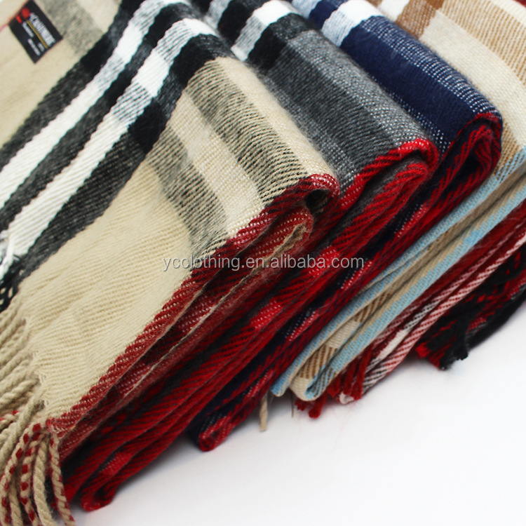 Wholesale winter warm thick plaid design women cashmere long scarf