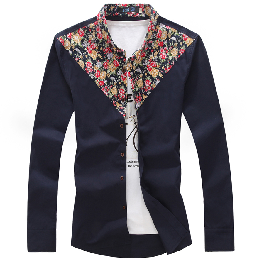 2015 new real camisa solid polo shirt mens fashion cool design short -  2015 Men Casual Shirts Long Sleeve Floral Shirts Cotton Triangle Camisas Hombre Chemise Homme Slim Fit