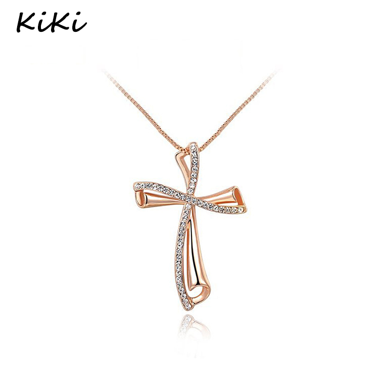 >>>Fashion Luxury Czech Stone Necklace Gold Color Crystal Classic Cross Pendant Necklaces For Women Jewlery Wholesale