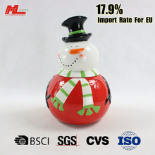 colorful printed snowman shaped ceramic christmas candy cookie jars with lid