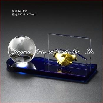 Crystal Business Globe Handshake Name Card Holder Gifts Office Desk Ornaments