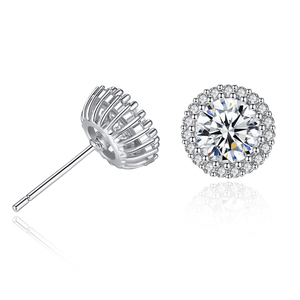 Europe popular zircon earrings round Korean version of crown simple flash diamond earrings EAC106