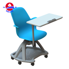 Cheap plastic cushion used school furniture student chair/student wheel chairs with writing desk