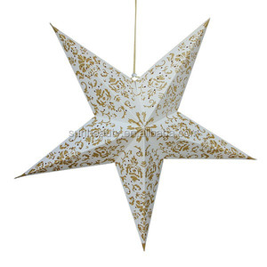 Xmas Decoration Gold Glitter and Silver Glitter Paper Star Lantern / Glitter Star Hanging Decoration / Hanging Star Lantern