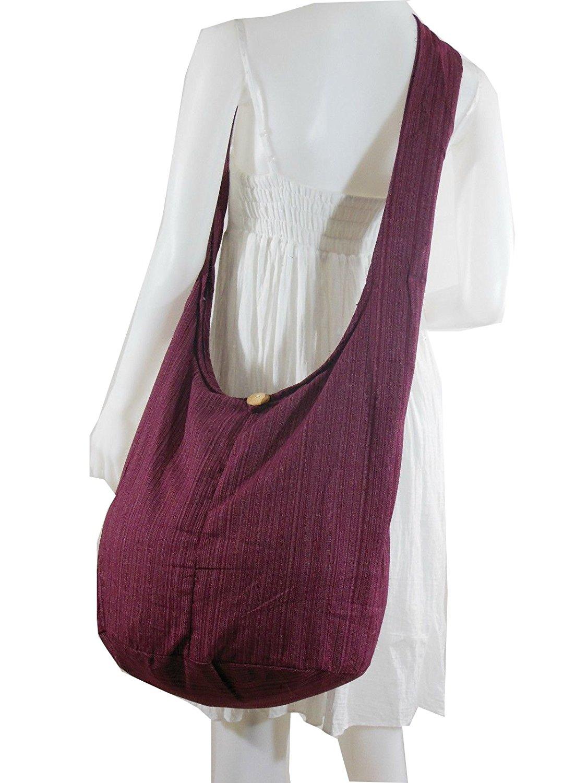 dbdd3a2ba4 Burgundy   Thai Hippie BAG Hobo Shoulder BAG Sling Cross Body Cotton Zip