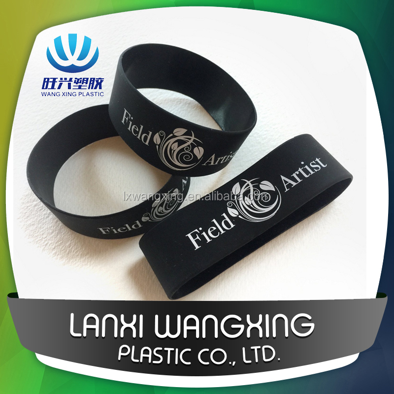 Custom logo print black 4 inch long x 1 inch wide silicone rubber bands for bundling or wrapping
