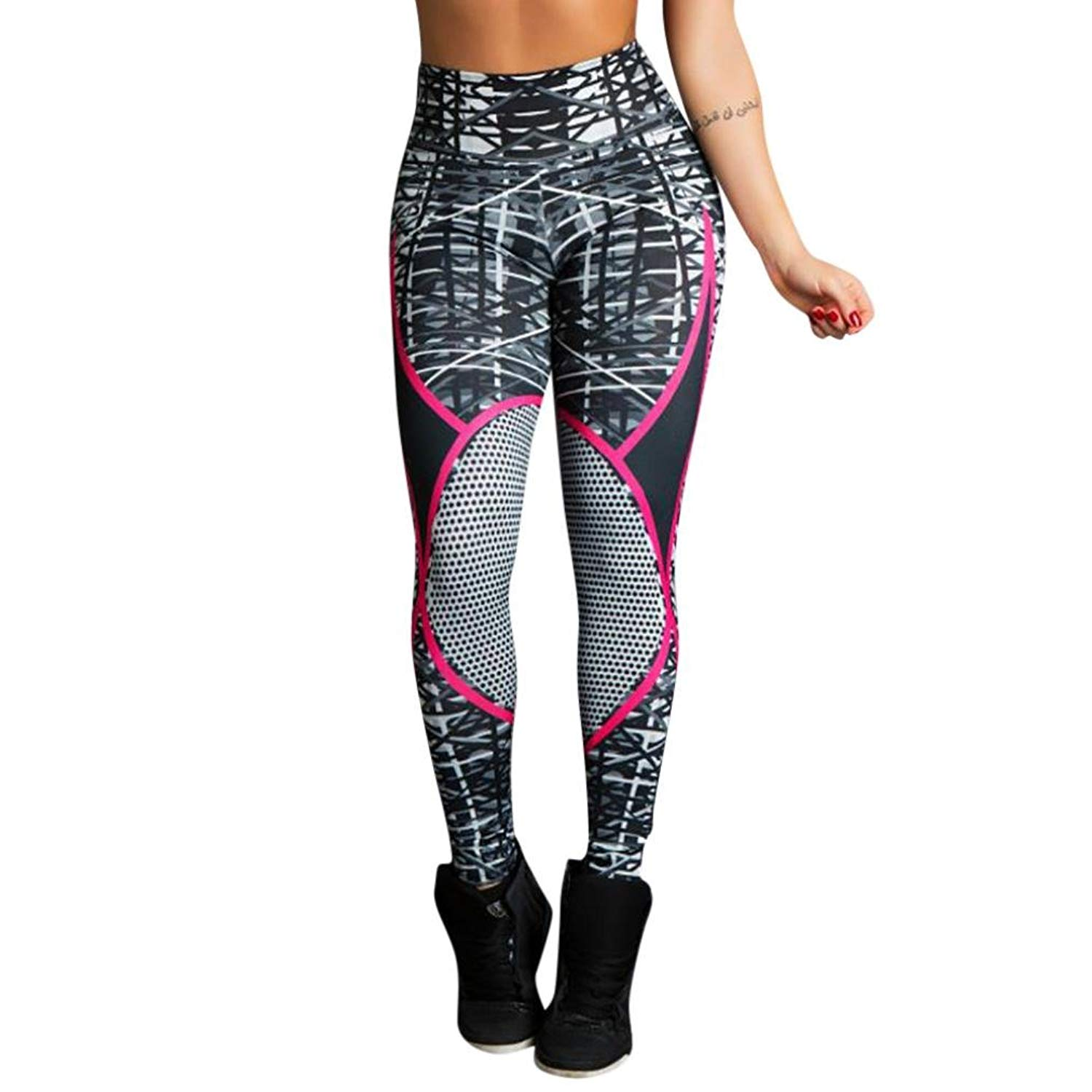 c4642ddf39a46e Get Quotations · Dreaman Women's Elastic Print Workout mesh Ripped Leggings  Fitness Sports Gym Running Yoga Athletic Tight Pants