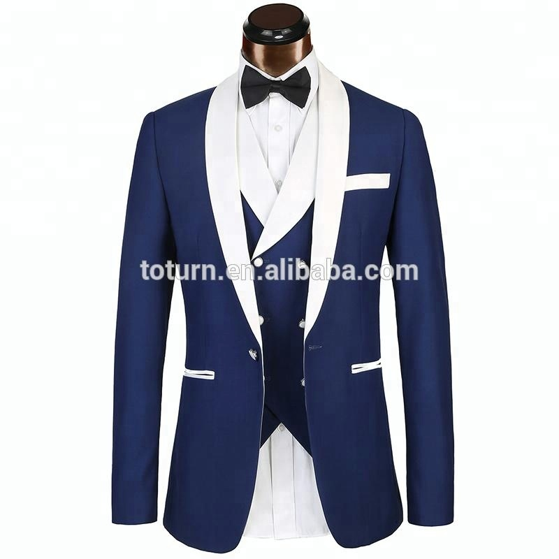 jacket+pants+bow Tie New Arrivals Blue Dot Mens Suits Groom Tuxedos Groomsmen Wedding Party Dinner Best Man Suits W:66 Skillful Manufacture