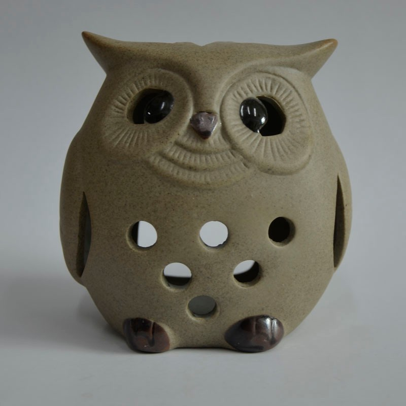 ceramic owl candle holder with sand effect