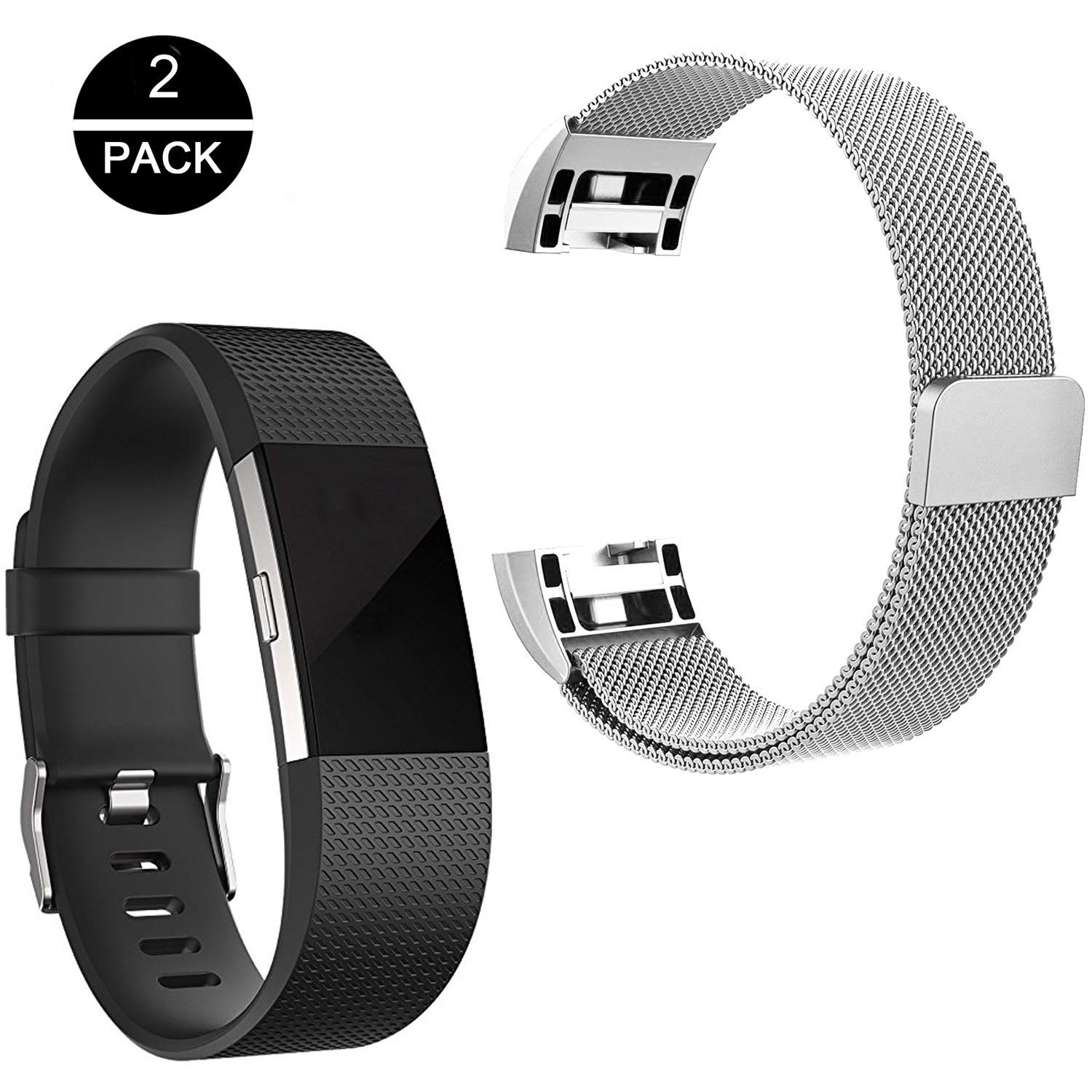 Fitbit Charge 2 Bands[2-Pack: Silicone Replacement Band and Milanese Wristband],Rukoy Milanese Loop Metal Bracelet Strap with Unique Magnet Lock and Silicone Band for Fitbit Charge 2 (Small)