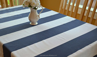 White blue stripe hotel/banquet/party/home use 100% cotton table cloth/cover