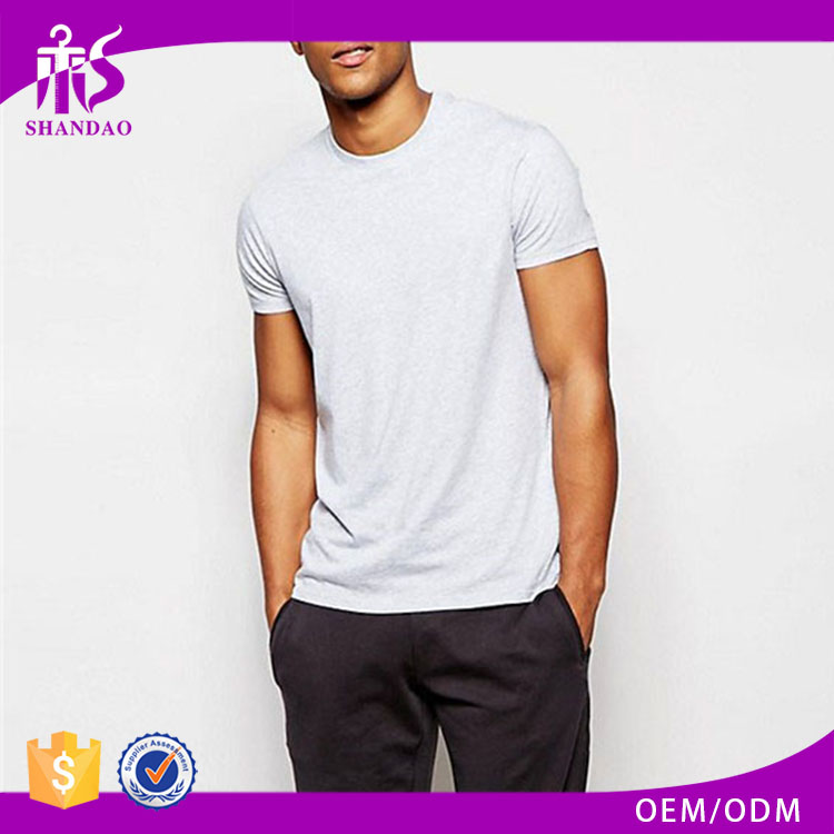 Shandao Supplier 180g 95% Viscose 5% Elastane Summer Custom Men Plain Dyed Short Sleeve Crew Neck Ethical Tshirt