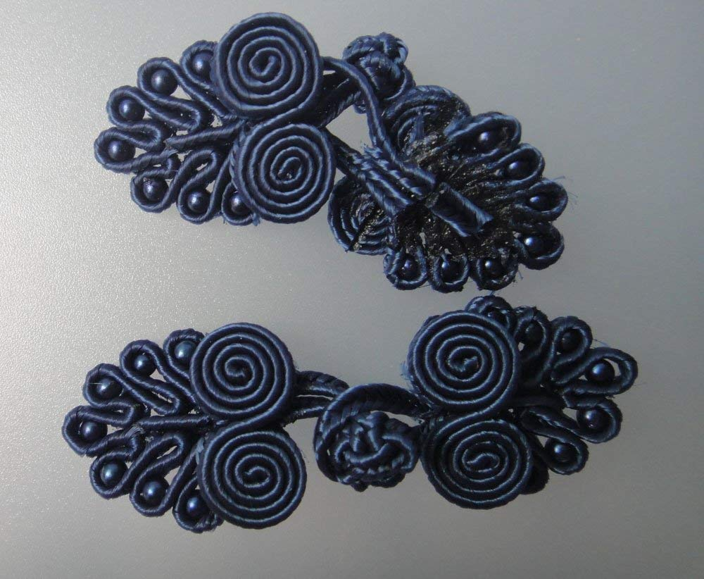 Black with Golden Lyracces Butterfly Swirl Twirl Sewing Fasteners Chinese Knot Closure Frog Buttons 6pairs 10cm 3.9in