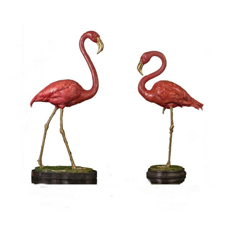 De metal antiguo bronce flamingo escultura