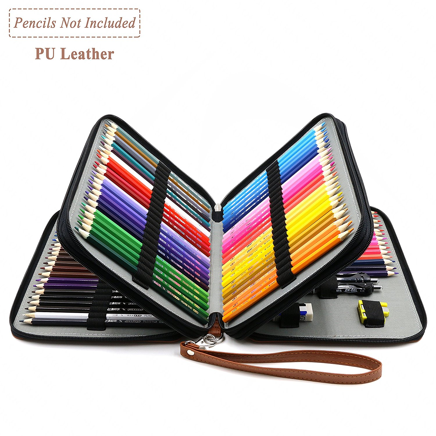 YOUSHARES 120 Slots Pencil Case - PU Leather Handy Multi-layer Large Zipper Pen Bag with Handle Strap for Prismacolor Watercolor Pencils, Crayola Colored Pencils, Marco Pens and Makeup Brush (Brown)