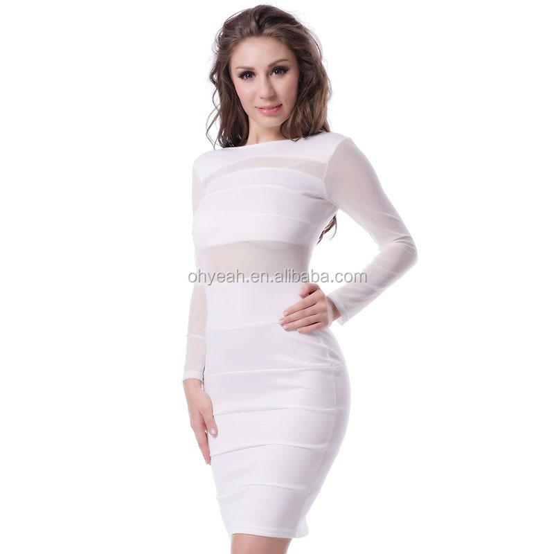 新しいスタイルのメッシュインサートタイトな短い白いドレス長袖