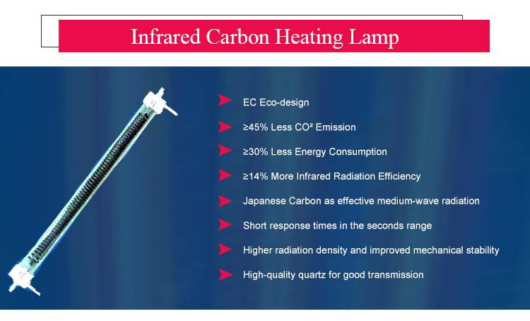 More Power Output carbon fiber infrared led heat filament ir lamp