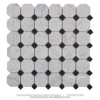 Black And White Mma Kitchen Backsplash Wall Marble Mosaic Octagon