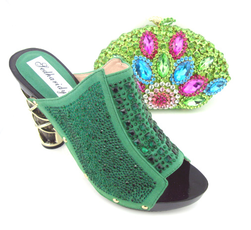 Italian shoes and dinner packages, High quality Italian matching shoes and bag set green!