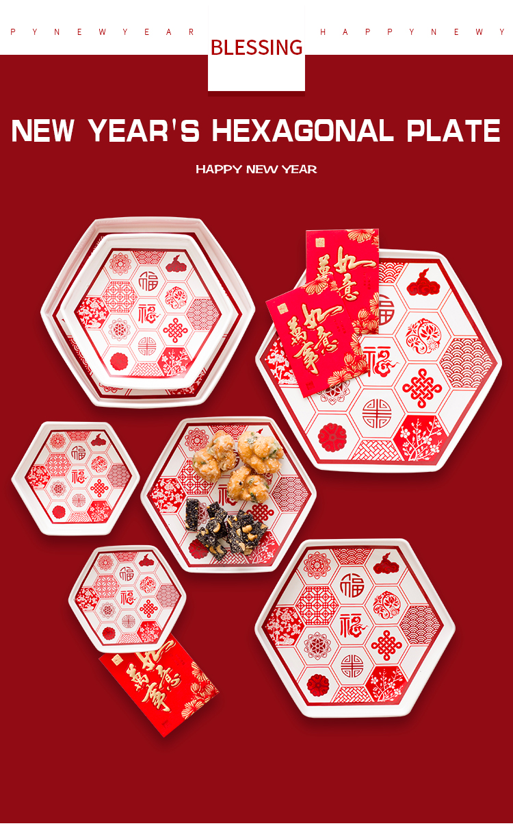 Chinese Style New Year Red Creative Hexagonal Ceramic Nut Snack Plate 1875