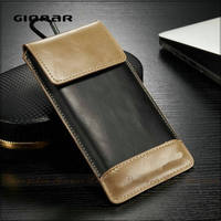 Fashion Gionar Designer Men Vintage Leather Flip Magnetic 5 Inch Mobile Phone Case