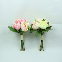 China supplier party decoration bunch plastic silk bridal wedding artificial flower bouquet
