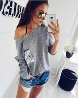 Knitted Sweatshirt Female Slash Neck Sequined Pullover Knitting Warm Winter Plus Size Jumper Women Hoody