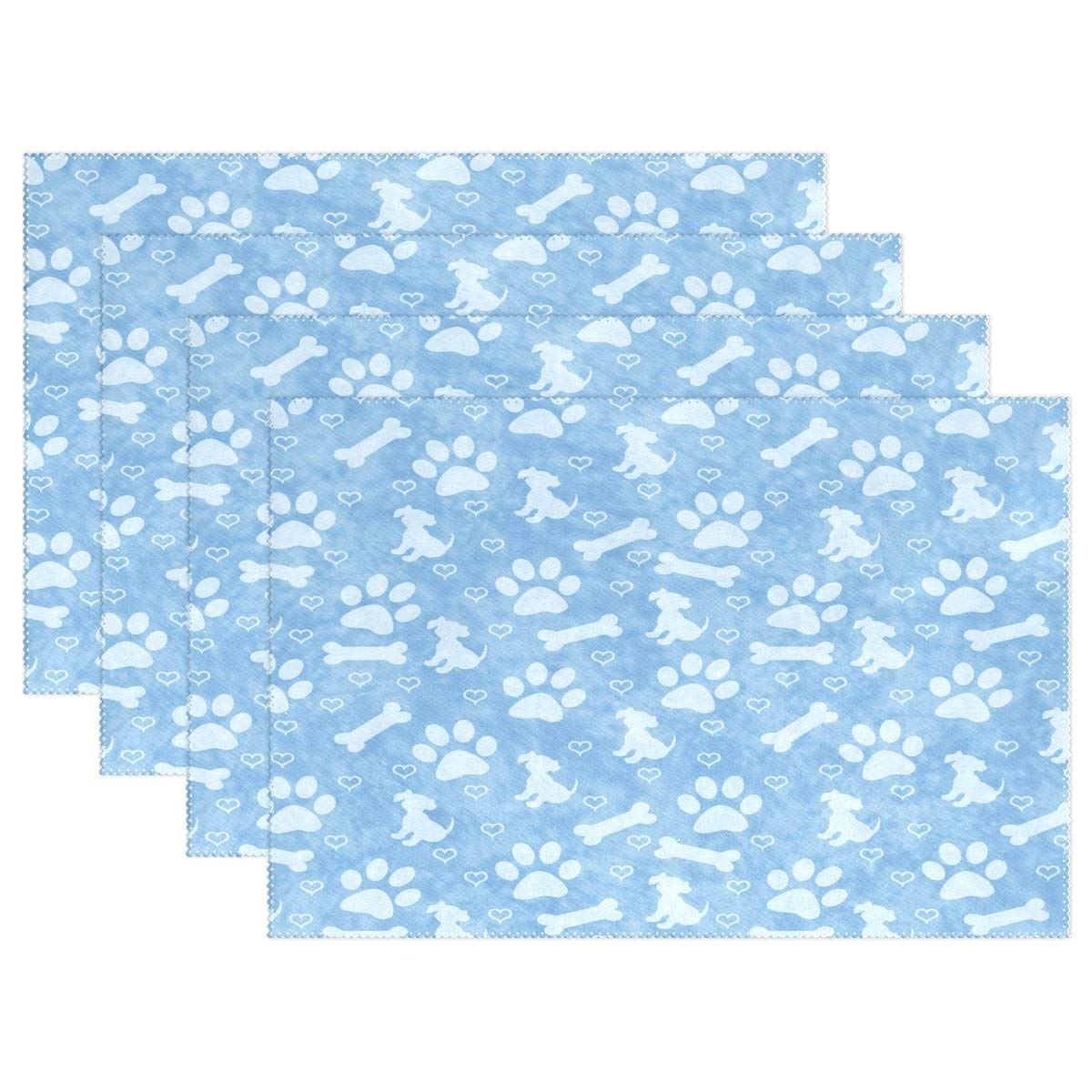 "WOZO Blue Dog Paw Prints Puppy Placemat Table Mat, Bone Heart 12"" x 18"" Polyester Table Place Mat for Kitchen Dining Room 1 Piece"