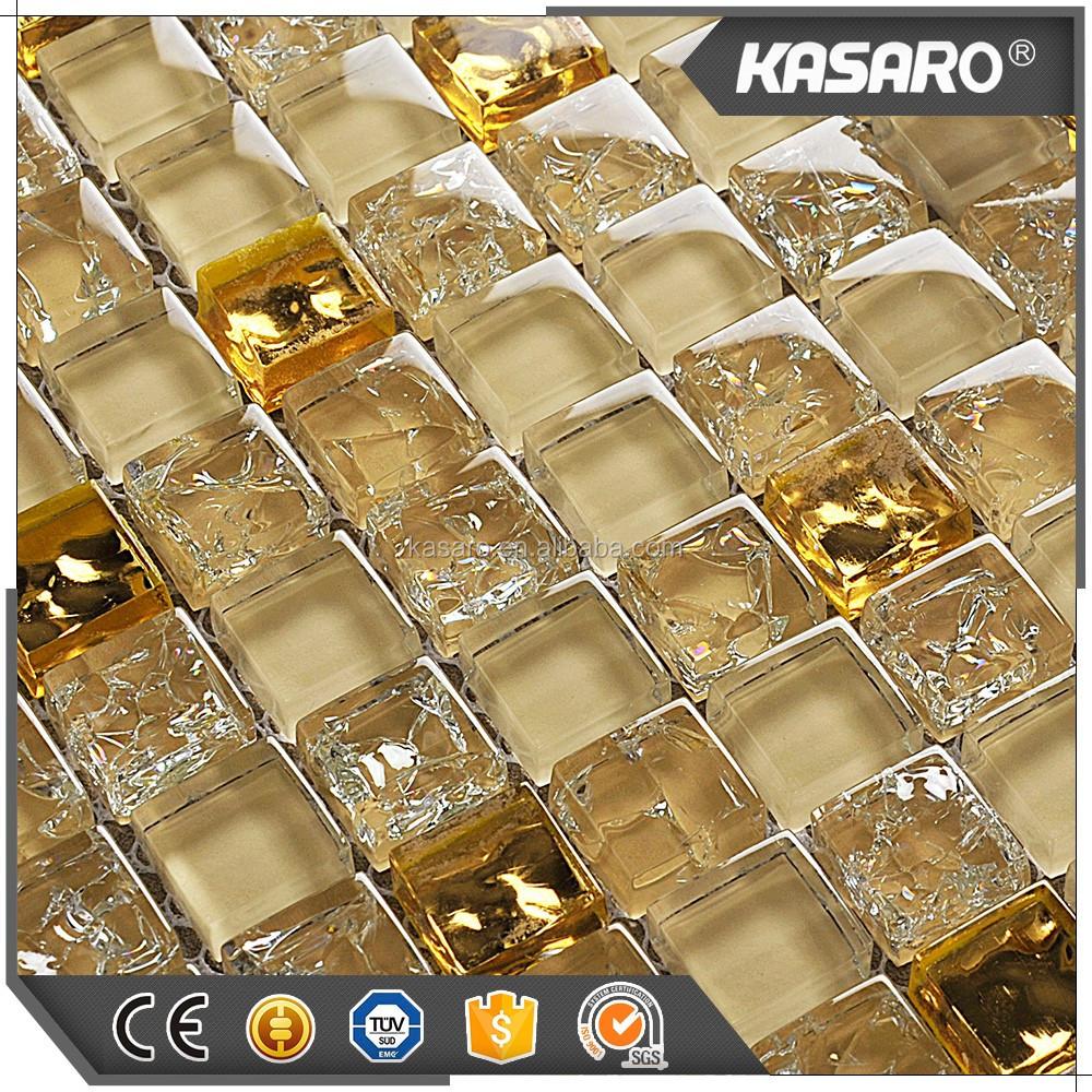 - Hot Sale Kitchen Backsplash Tile Gold Color Glass Mosaic Tile