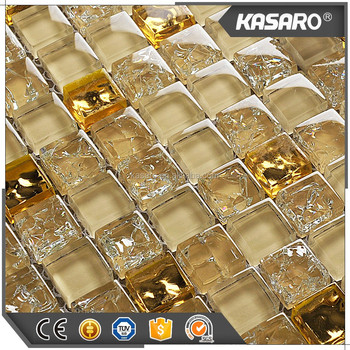 Heisser Verkauf Kuche Back Fliesen Gold Farbe Glas Mosaik Fliesen