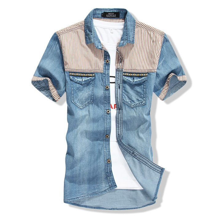 2015 Men Patchwork Striped Casual Dress Denim Shirts  Mens Short Sleeve Swag Slim Fit Jeans Shirt Camisa Masculina Famous Brand