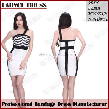 Celebrity modern design black and white thailand dress wholesale buy
